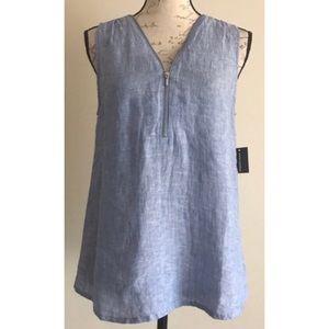 (INC} 100% Linen Blue Zip-Front Sleeveless Top